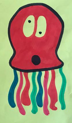A slightly confused multicoloured octopus drawing artwork art marker sketch cartoon comic kawaii cut
