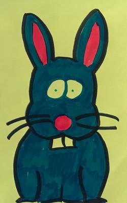 This bunny is rather worried drawing artwork art marker sketch cartoon comic kawaii cute