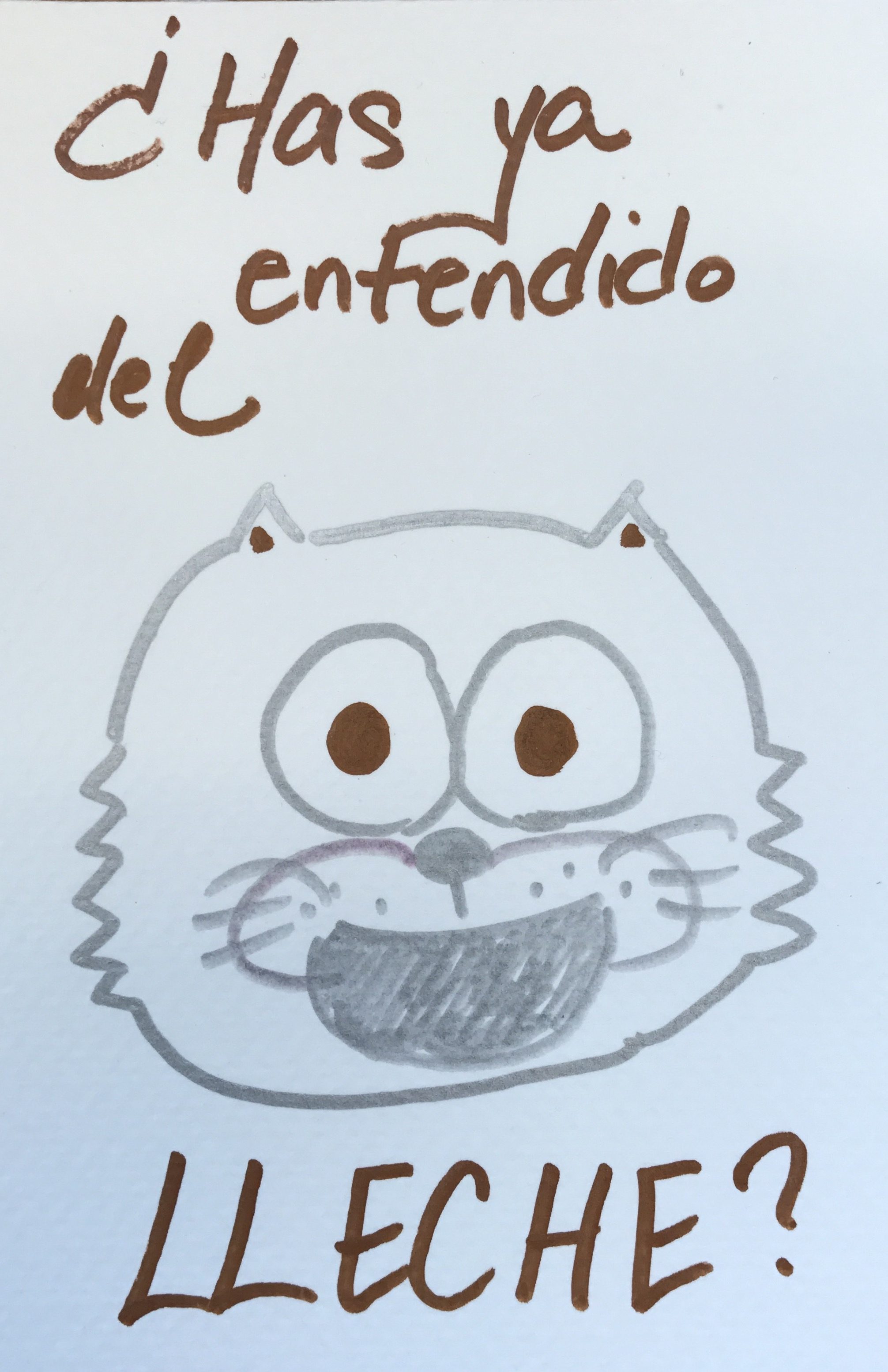 Has ya entendido del lleche 日本語 書道 かわいい ぺん kawaii draw ink calligraphy art cartoon Spanish