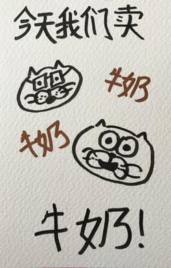 今天我们卖牛奶 miylk kitten art postcard marker calligraphy typography kawaii かわいい 描く コミックス ペン オタク