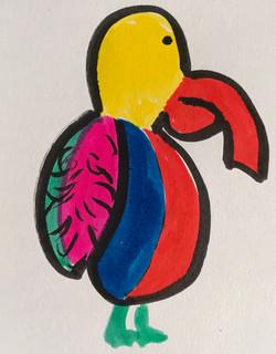 Pensive Parrot ink drawing marker sketch animal art artwork