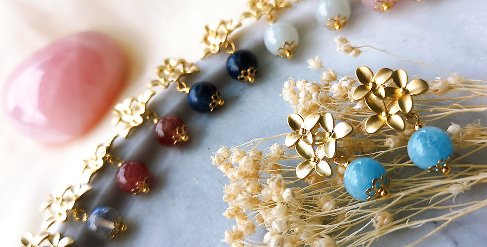 Earring : Blossom - Aquamarine