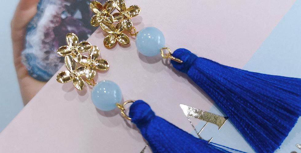 Earring : Blossom Tassle - Aquamarine