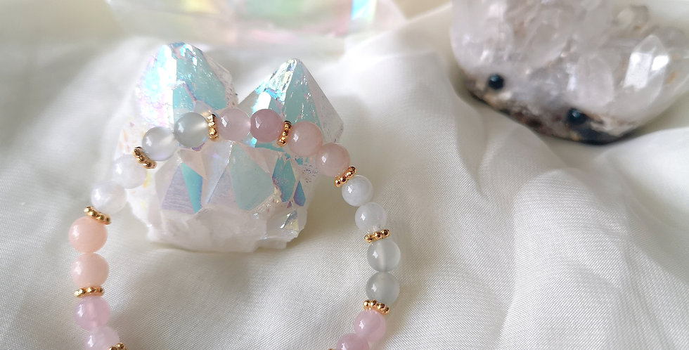 CRYSTAL BRACELETS: 6mm ROSEY MOON #1 ✡