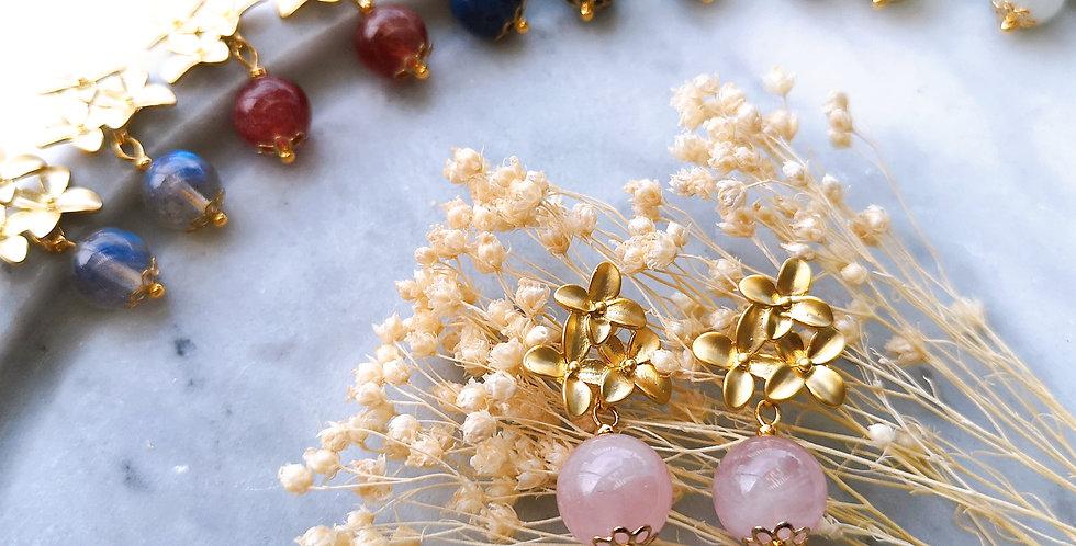 Earring : Blossom - Rose Quartz
