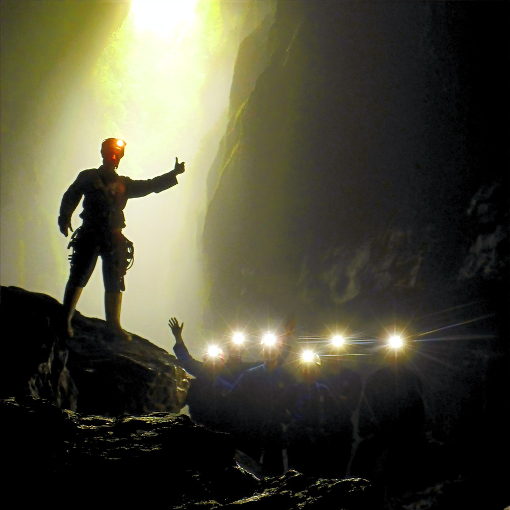 caving with headlights