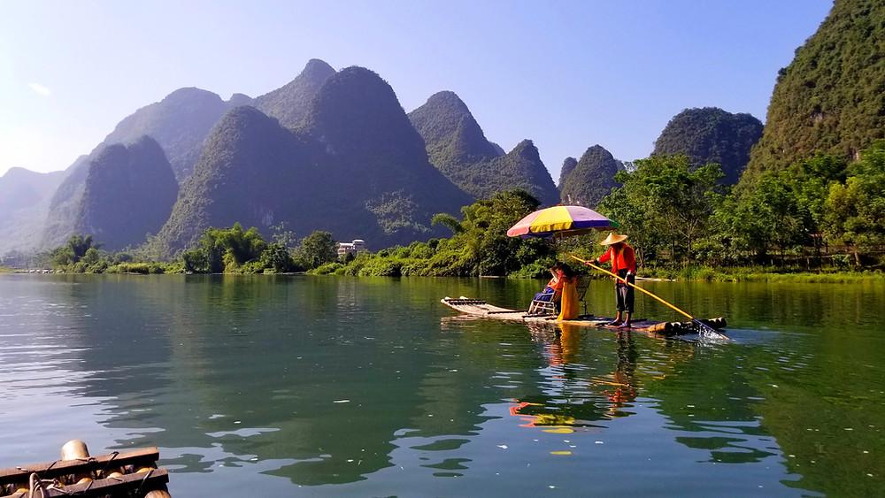 yulong river bamboo raft