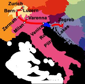 European travel route map