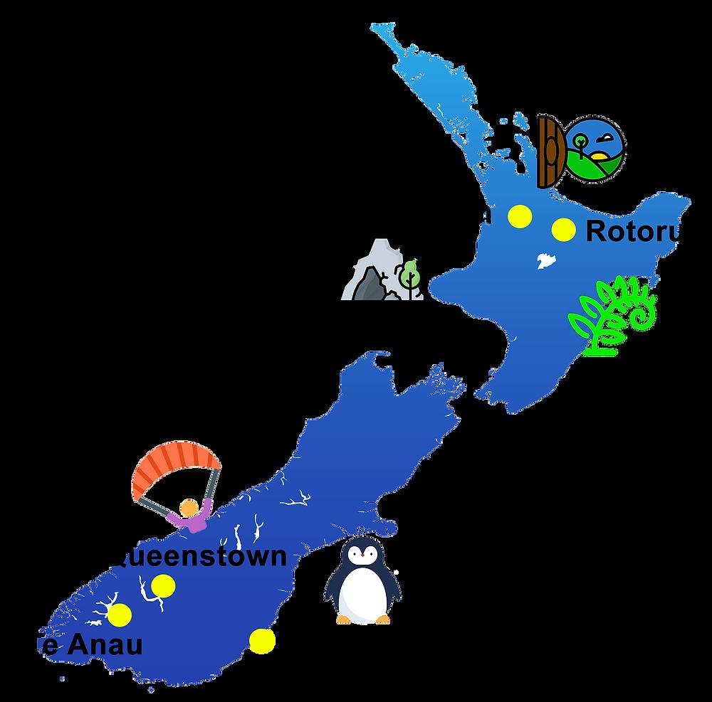 New Zealand travel map