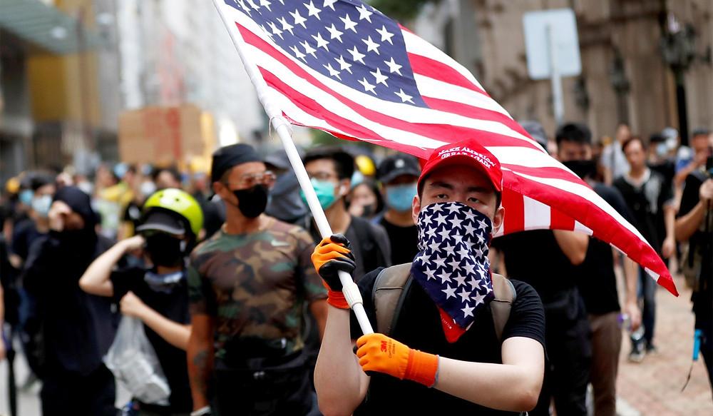 Hong Kong Protesters Waive American Flag