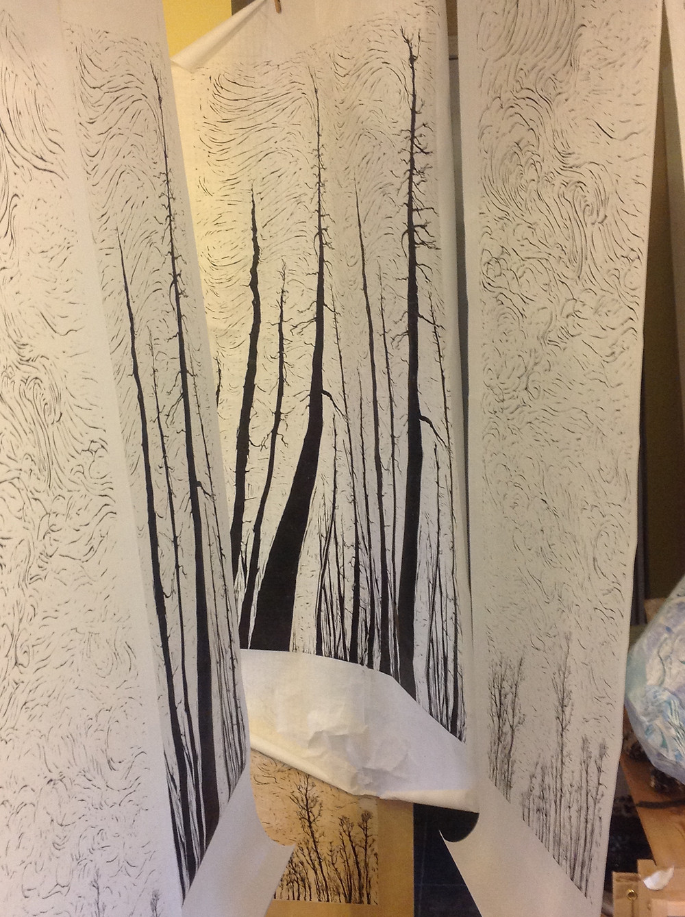 large prints hanging to dry. Not much room left in the studio these days!