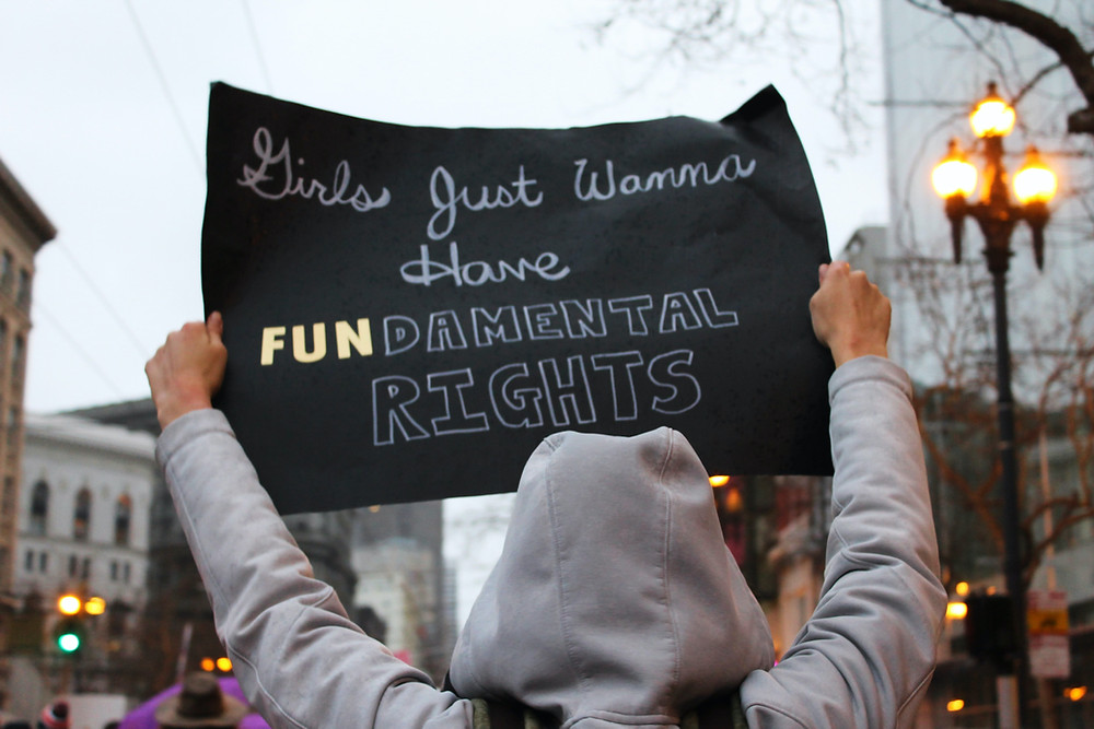 Women protesting at march