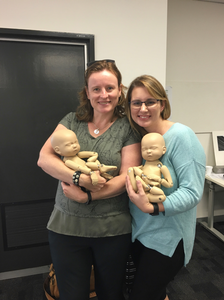 Meeting Sandra at Tafe South Bank to get introduced to Stand In Baby - a fake baby perfect for practising newborn photography