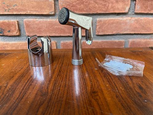 Gatilho para ducha higiênica cromada com suporte para parede