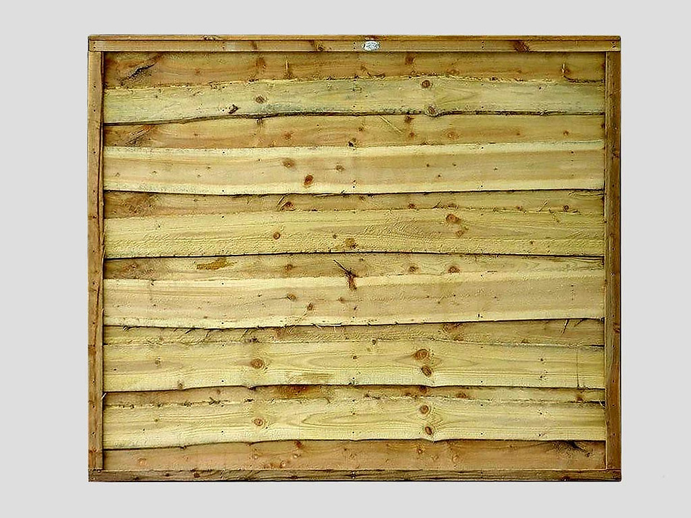 Green timber waney lap panel