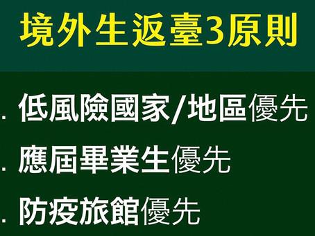 台灣教育部優先開放低風險國家應屆畢業生分批返臺就學