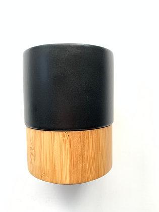 Matte Black Stoneware Bamboo Mug