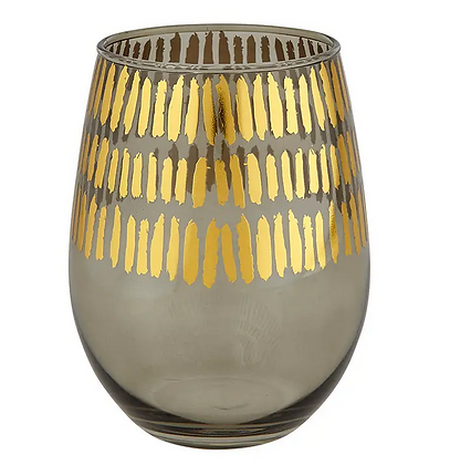 Gold & Grey Stemless Glass