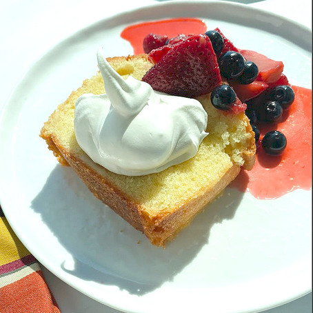Honey Almond Pound Cake with Macerated Berries