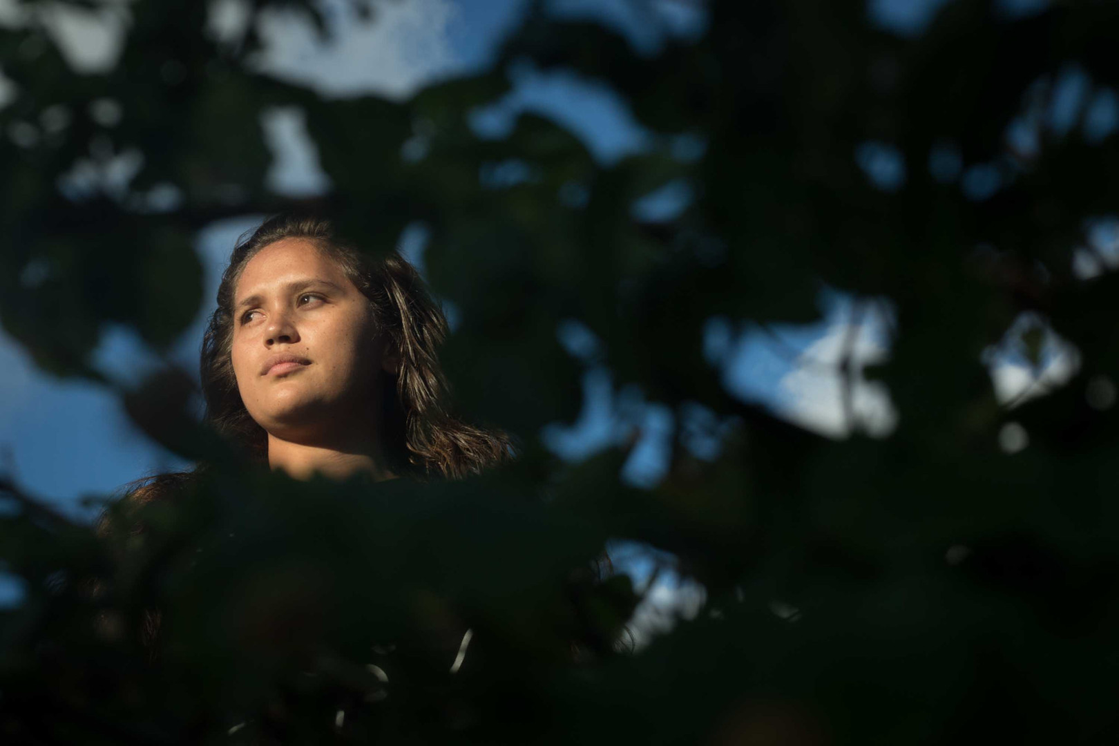 UHM Graduate Student in Hawaiian Studies Tiele-Lauren Doudt poses for a portrait on November 8, 2019.
