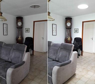 Avant et après le conduit de lumière