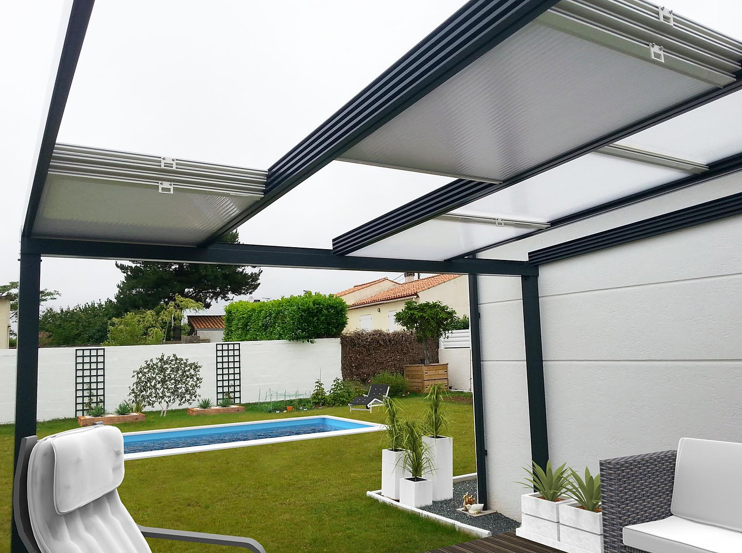 pergola murale aluminium aluminium tonnelle pergola. Black Bedroom Furniture Sets. Home Design Ideas