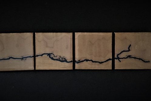 Lightning Coaster Set of 4 - Fiddleback Maple