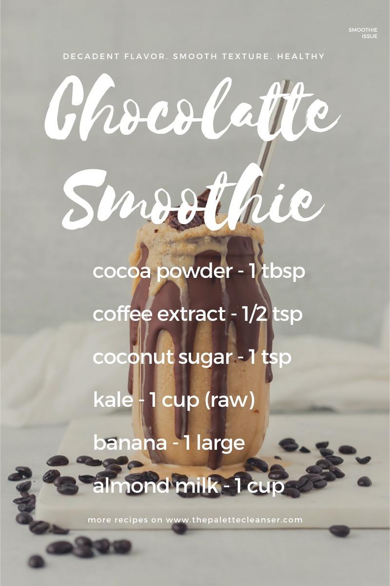 chocolatte chocolate coffee kale banana smoothie