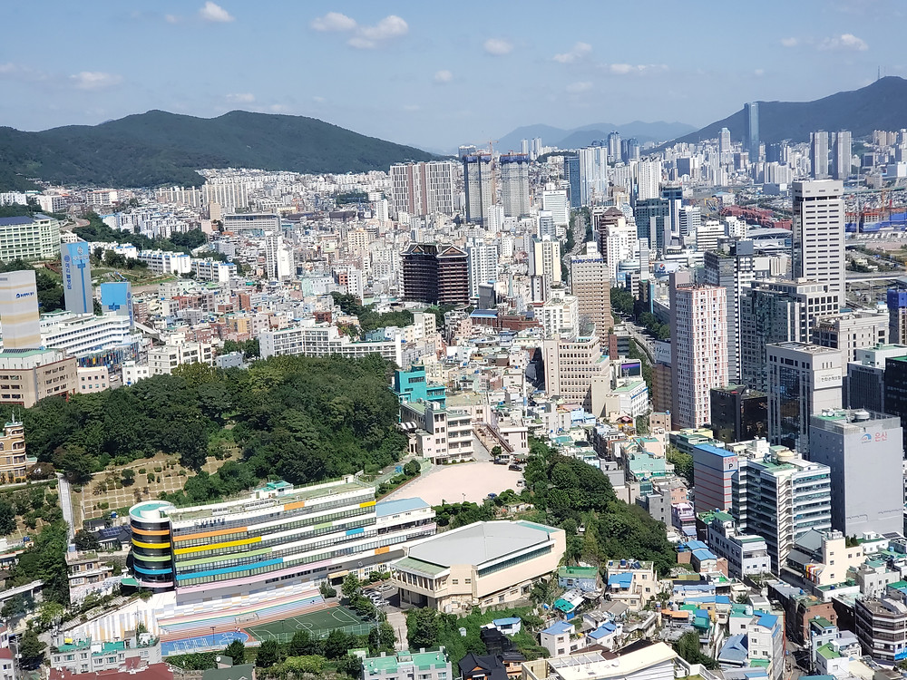 Busan aerial view city line