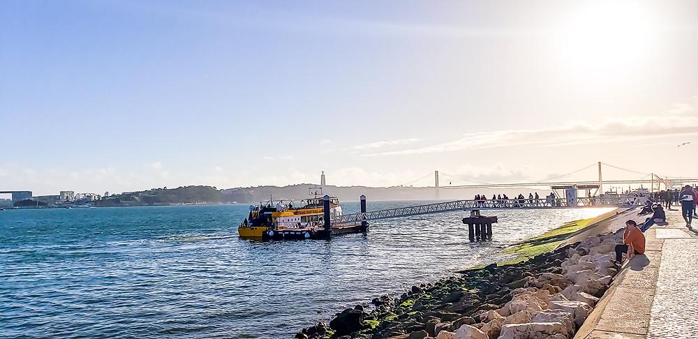 Tagus River Lisbon pier beach