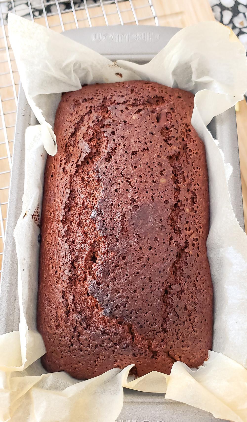 chocolate bread in baking tin
