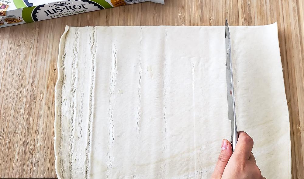cut pasty dough knife