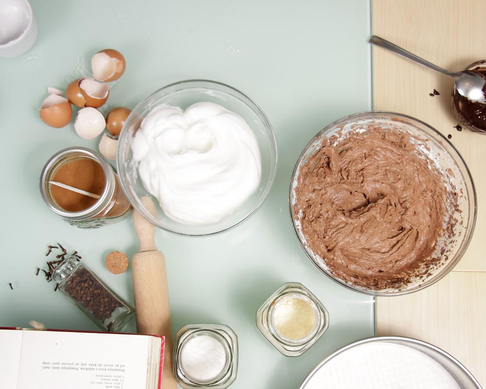 chocolate cake batter baking ingredients flat lay