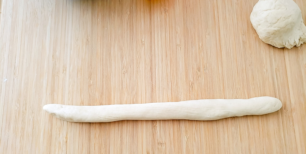 dough rolled out long rope