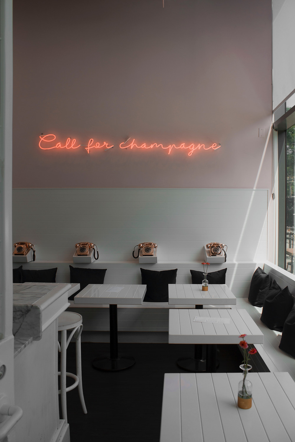 call for champagne pink light sign