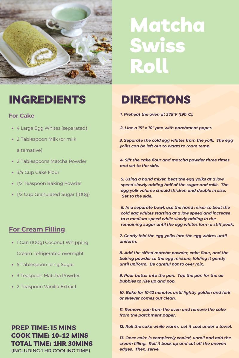 matcha swiss roll recipe pinterest pin