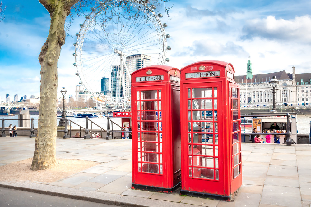 the london eye red phone booths