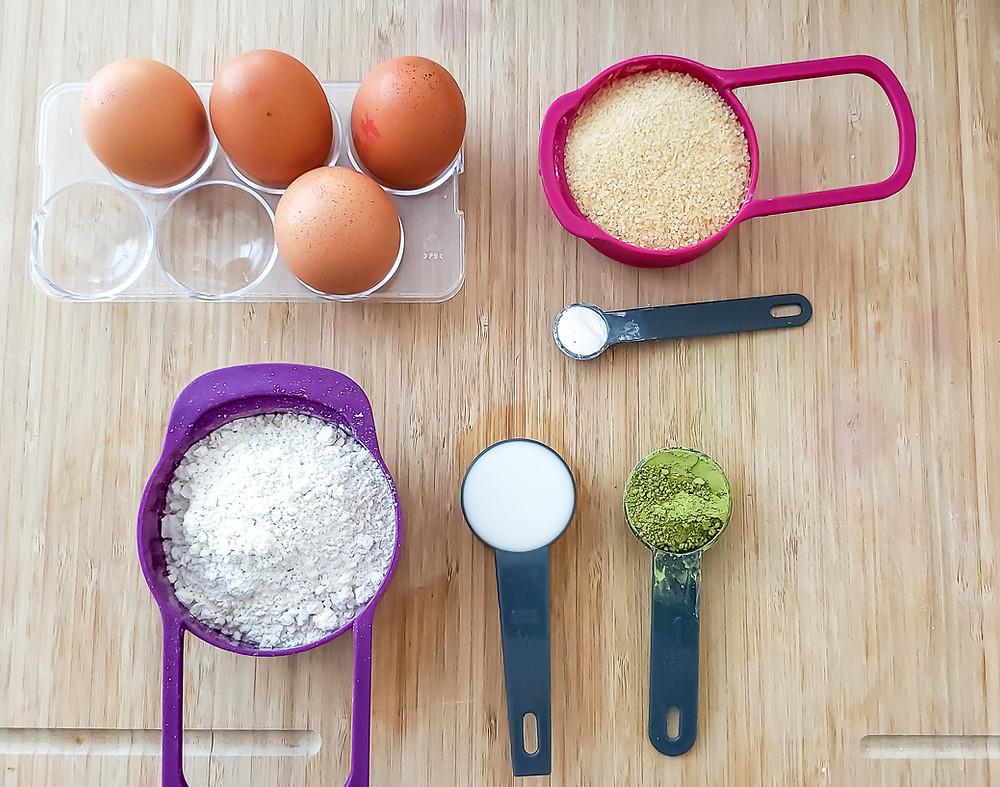 eggs sugar flour baking powder matcha powder