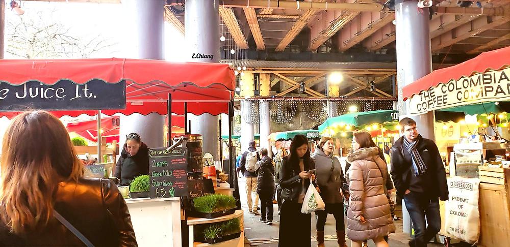 green market juice coffee stands stalls