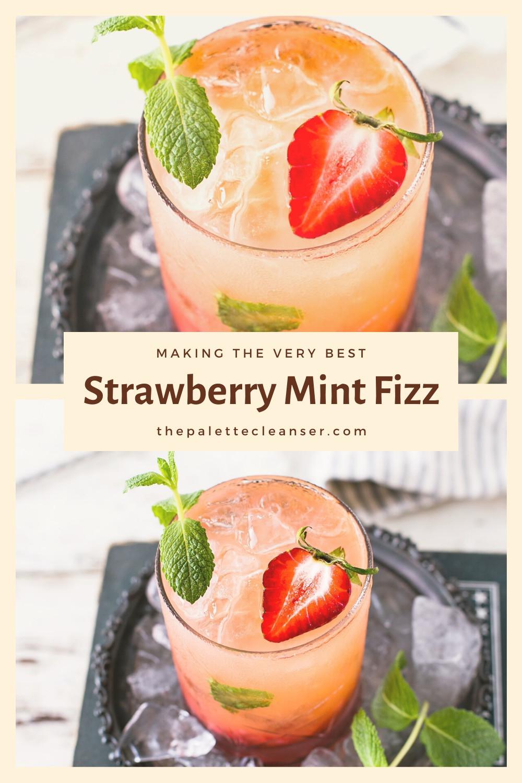 strawberry mint fizz soda cocktail