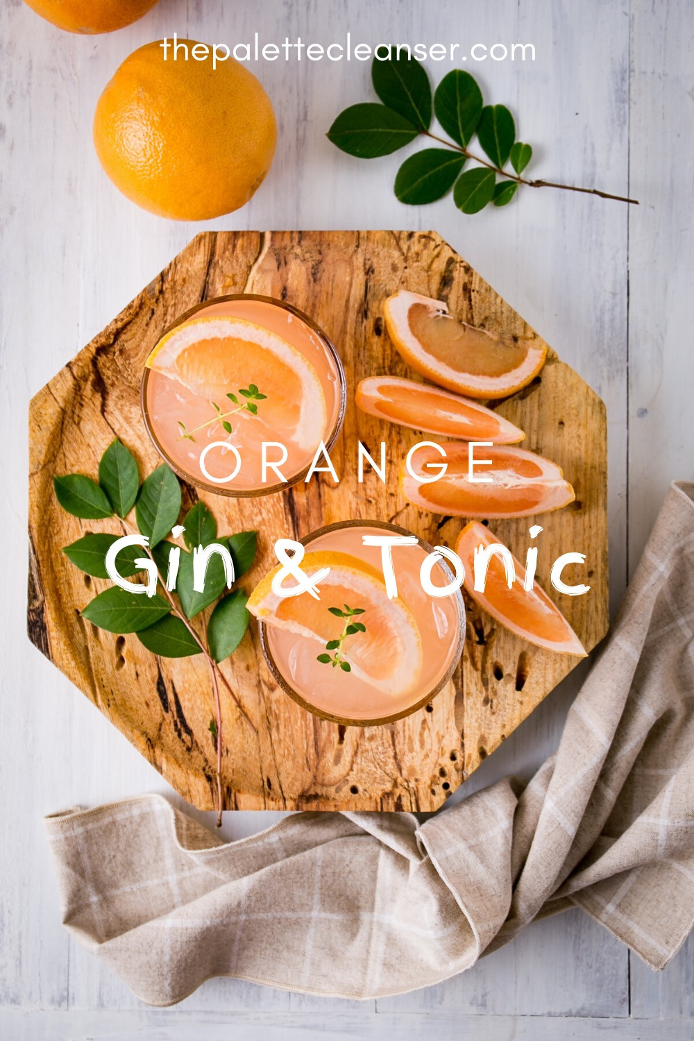 orange gin and tonic cocktail