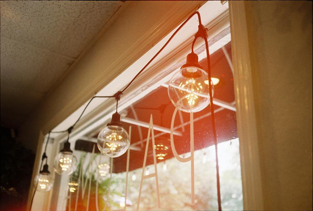 Edison light bulb window glowing