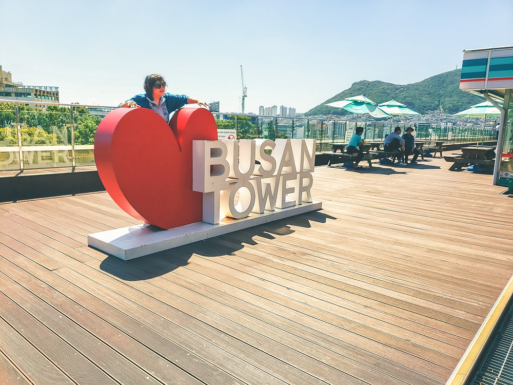 busan tower mural statue heart