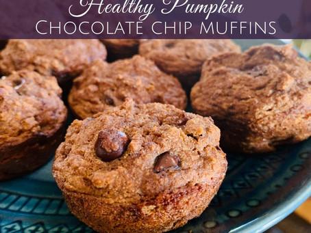 Healthy Pumpkin Chocolate Chip Muffins - GF and Paleo Friendly