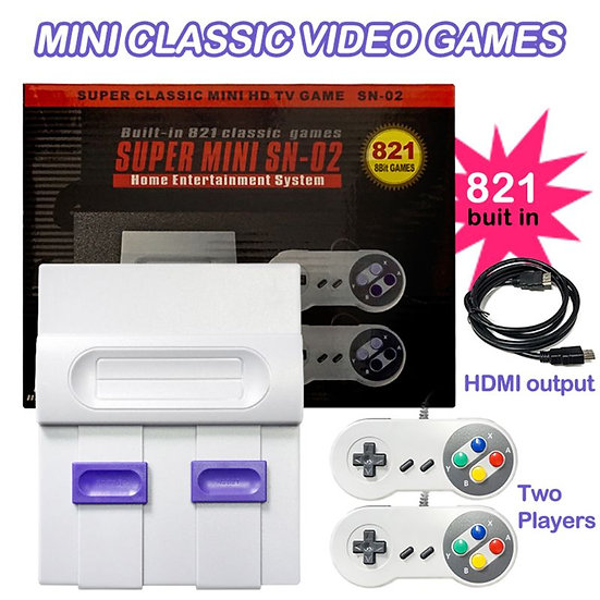 SUPER MINI  SNES SFC NES Video Game Console - 821 Games With Dual Gamepads