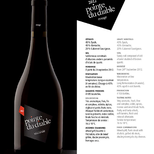 La pointe du Diable - (Malherbe) - Rouge - 150 cl