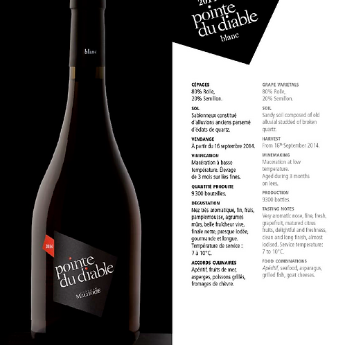 La pointe du Diable - (Malherbe) - Blanc - 150 cl
