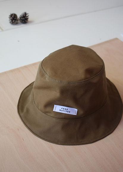 Khaki Waxed Cotton Bucket Hat