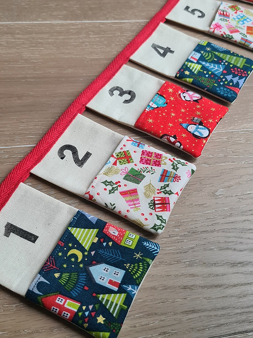 Advent Calender Bunting - Red & Green