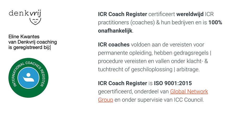 ICR accreditatie register coach informatie Denkvrij